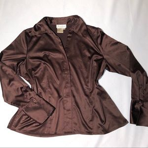 Fred David Tops - Fred David Stretch Brown Blouse